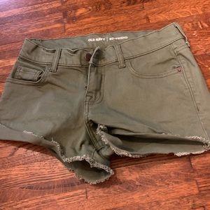 Olive green boyfriend shorts size 2